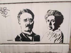 Karl Liebknecht and Rosa Luxemburg at their last hiding place in Mannheimer Strasse 27, Berlin - 15. January 2019.