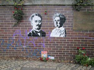 Rosa Luxemburg and Karl Liebknecht at Landwehrkanal in Berlin Tiergarten.
