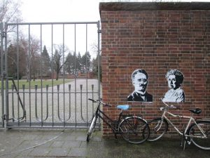Rosa Luxemburg and Karl Liebknecht at Memorial for the Socialists in Berlin Friedrichsfelde.